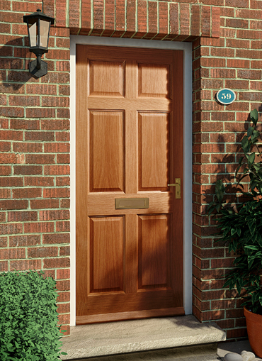 Homeserve securityoak external doors oak doors front for Hardwood front doors